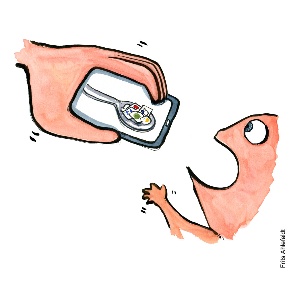 Toddler being fed apps from a phone. Illustration by Frits Ahlefeldt