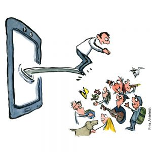 Man jumping out of phone into social space. Illustration by Frits Ahlefeldt