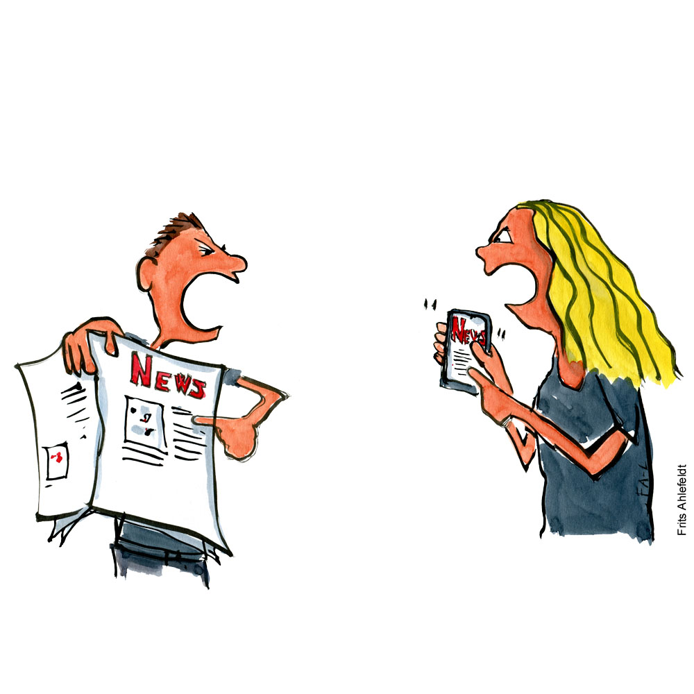 Argument between person looking at screen and one looking at newspaper. Illustration by Frits Ahlefeldt