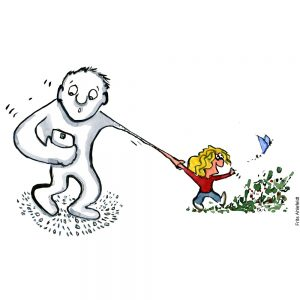 Man looking at smartphone while kid drags him out into nature. Illustration by Frits Ahlefeldt
