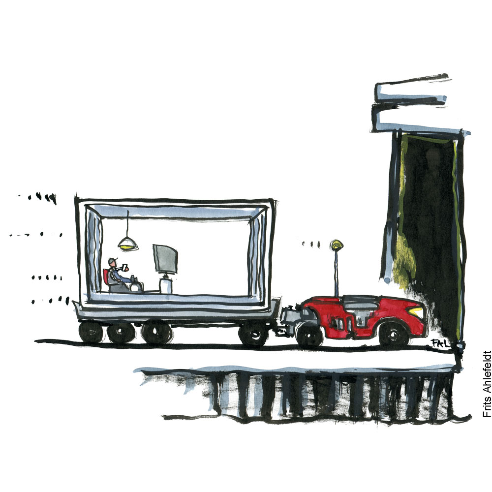 Container with man looking on screen. Being dragged on ship by selfdriving truck. Illustration by Frits Ahlefeldt